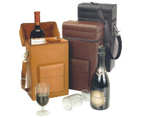 Leather Wine Case with Glasses